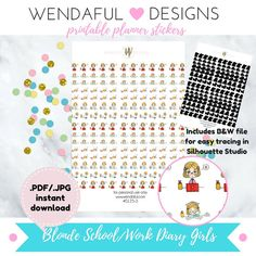 Item #0125-3 Printable Blonde Girl Cute College/Work Life Diary Stickers Set…