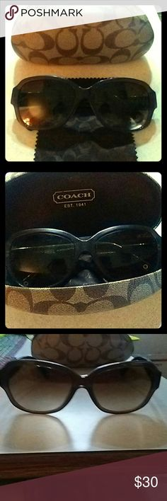 Authentic Coach Sunglasses Authentic Coach sunglasses, brown with detail on side, gently used and in good condition, bought brand new from Coach Store, comes with Authentic Coach Case....am willing to trade Coach Other