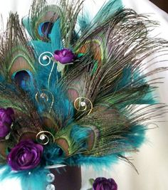 Teal Peacock Cake top Plum Purple teal feathers peacock wedding NEW Design Peacock Cake, Peacock Wedding Cake, Peacock Theme, Wedding Cake Rustic, Purple Wedding, Wedding Cakes, Peacock Wreath, Purple Accents, Teal And Grey