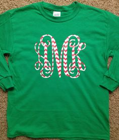 Christmas Monogrammed Long Sleeve Shirt for by TwoSistersStickers