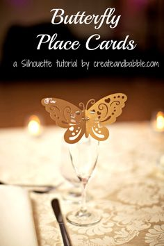 Butterfly Place Cards by createandbabble.com These beautiful and personalized butterfly place cards perch on the rim of the champagne flutes at guests' place settings.  #DIY Wedding