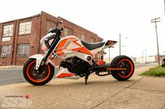 Honda Grom by Garwood Custom Cycles is a read head-turner! Custom Cycles, Custom Bikes, Honda Grom Custom, 2014 Honda Grom, Minibike, Video New, Motorcycle Gear, Scooters, Cars And Motorcycles