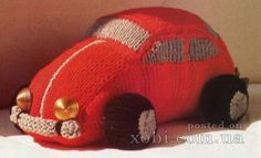 Beetle car, knit tutorial -- machine knitting