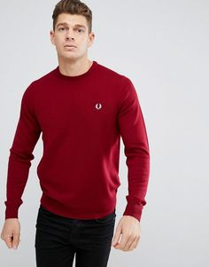 Fred Perry Merino Crew Neck Sweater in Burgundy - Red