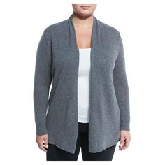 Neiman Marcus Cashmere Open Front Computer Cardigan, Derby Gray, Plus... ($199) ❤ liked on Polyvore featuring tops, cardigans, grey cardigan, women's plus size tops, cashmere cardigans, long sleeve tops and gray cardigan