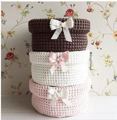 The most beautiful Crochet basket and straw models Crochet Box, Crochet Motifs, Crochet Stitches Patterns, Love Crochet, Crochet Gifts, Knit Crochet, Yarn Crafts, Diy And Crafts, Knit Basket