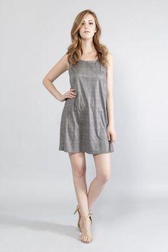 Trending, Cute, Sexy Grey Checker Print Mini Dress Round neck Sleeveless  Scoop back  Unlined