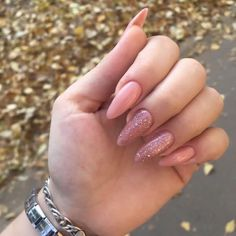 Pink and glitter long nails LadyStyle Fire Nails, Best Acrylic Nails, Dream Nails, Classy Nails, Simple Nails, Nagel Gel, Perfect Nails, Nail Manicure, Swag Nails