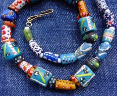 NEW necklace handmade multi colour recycled fancy glass beads DECADIMENTO -K111
