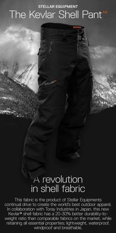 The product of Stellar Equipments continual drive to create the world's best outdoor apparel, this technical shell pant is developed for lightweight durability in our new innovative Kevlar® fabric. Versatile with an engineered fit — it is water proof, breathable and designed to excel in all alpine activities. Use it for skiing, touring and mountaineering in the winter and for demanding cold weather summer activities. Technical features include v