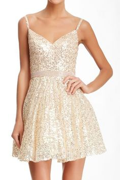 Sequined Rhinestoned Waist Dress