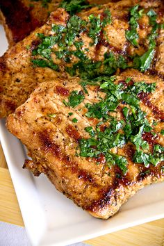 Grilled Pork Chops with Summer Peach Chutney and Toasted Pecan Rice - the cozy apron recipes Pork Chop Recipes, Grilling Recipes, Meat Recipes, Cooking Recipes, Recipies, Peach Pork Chops, Peach Chutney, Good Food, Yummy Food