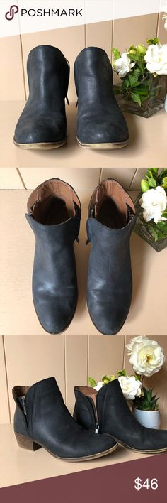 🍀Lucky Brand Black Ankle Boots 🍀 Lucky Brand ankle boots with side zippers. Soft outside feel and comfy for walking. A little wear but in great condition, I just have too many ankle booties and need to clear the closet. True 6.5 fit. 🖤✨ 🚫No trades please Lucky Brand Shoes Ankle Boots & Booties