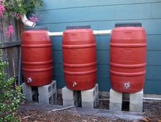 Rain barrels can be connected by using PVC pipe or any other type of connector. Most people collect rainwater for use in outdoor tasks such as watering plants and washing cars. The barrels are food-grade quality.
