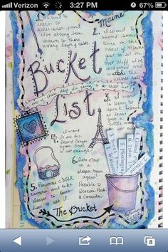 Smash Book/ Bullet Journal Bucket List Page Idea Art Journal Pages, Journal Prompts, Junk Journal, Art Journals, Visual Journals, Travel Journals, Photo Journal, Journal Notebook, Kunstjournal Inspiration