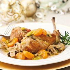 Recette de : Sauté de lapin aux poireaux et à la clémentine