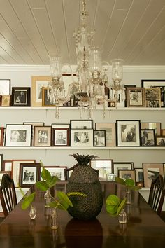 India Hicks Dining Room- stylish photo wall. See more in her latest book, revised on www.CourtneyPrice.com