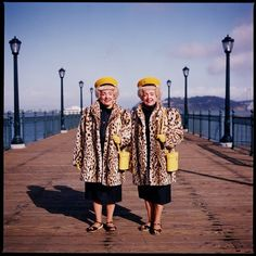 Twins with yellow hats