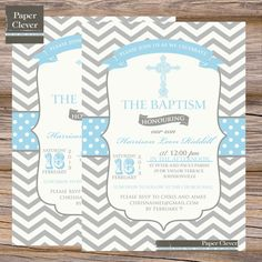 Boys Baptism Invitation chevron stripe blue grey  by paperclever