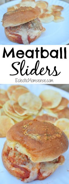 Meatball Sliders - Great weeknight meal or party appetizer. These meatball sliders are easy and full of so much flavor. Pair with Microwave Potato Chips for the perfect dinner.