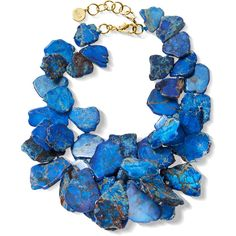 NEST Jewelry Blue Jasper Cluster Necklace (€380) ❤ liked on Polyvore featuring jewelry, necklaces, blue, cluster necklace, beading charms, blue jewelry, charm necklace and cluster bead necklace