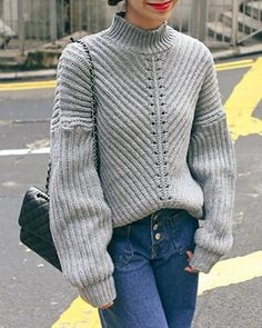 Stylish Turtleneck Batwing Sleeve Hollow Out Solid Color Women's Sweater