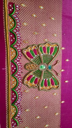 Peacock Blouse Designs, Cutwork Blouse Designs, Half Saree Designs, Best Blouse Designs, Simple Embroidery Designs, Embroidery Motifs, Hand Work Blouse Design, Easy Designs, Maggam Work Designs