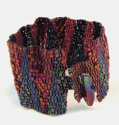 Burgundy BluesPeyote Beadwoven Cuff Bracelet by PaleFireDesigns, $128.00 on Etsy.