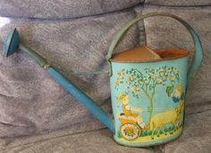 Antique Child's Watering Can with Playing Children Motif