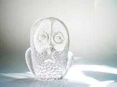 Owl Figurine Vintage Signed Kosta Boda Art Glass by vintagebiffann,