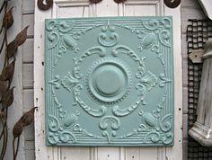 Antique Ceiling Tin Tile. Michigan architectural salvage. Vintage pressed tin panel. Aqua turquoise wall art.