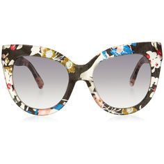 Linda Farrow x Erdem Multi Colour Floral Acetate Sunglasses ($345) ❤ liked on Polyvore featuring accessories, eyewear, sunglasses, gradient lens sunglasses, linda farrow, colorful glasses, acetate glasses and multi color sunglasses
