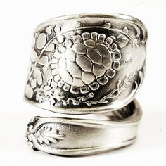 Sterling Silver Spoon Ring with Turtle and Oysters by Spoonier, $70.00