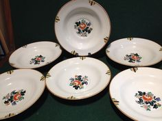 6x 1930s Art Deco Booths Old Ivory Silicon China 'Elizabethan' - Breakfast Bowls