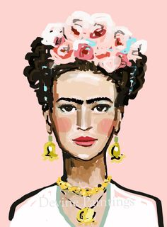 Frida Kahlo Print roses 8 x 10 by DevinePaintings on Etsy