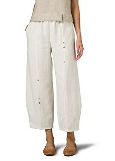 Vivid Linen Embroidered Crop Pants-S-Off White -- Read more reviews of the product by visiting the link on the image.