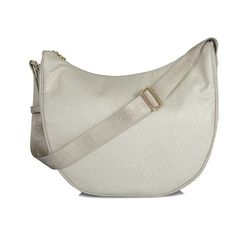 Stone medium luna bag Borbonese ($230) ❤ liked on Polyvore featuring bags, handbags, borbonese bags, stone handbags, borbonese, white handbags and white bags