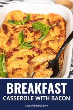 Easy Overnight Breakfast Casserole With Bacon Egg & Cheese -- looking for an easy make ahead breakfast idea? This overnight breakfast casserole with bacon uses just six ingredients and is super versatile. A delicious way to use up leftover odds and ends in your fridge! #breakfast #breakfastrecipes #breakfastcasserole #breakfastcasserolerecipes #bacon #baconrecipes #baconeggcheese #breakfastideas #casserole #casserolerecipes