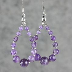 hoop earrings Amethyst loop teardrop long stone by AniDesignsllc