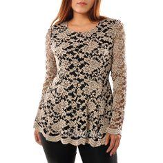plus size lace tops for women | ... Women's Scoop Neckline Peplum Hem Lace Top Shirt Blouse Plus Size