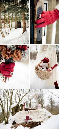 Winterliche Rotkäppchen Hochzeitsinspiration ~ Hochzeitswahn.de