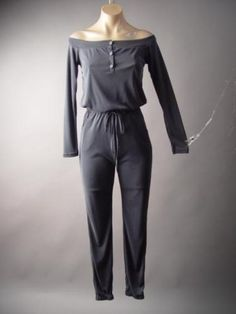 Gray-Off-The-Shoulder-Sporty-Style-Henley-Top-Track-Pants-204-df-Jumpsuit-S