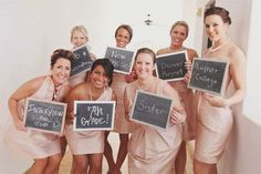 Great photo idea! The bridesmaids hold chalkboards (or signs) with when/where they met the bride :)