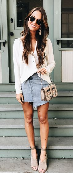 #winter #outfits white button cardigan with blue denim skirt and brown leather sling bag
