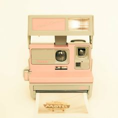 Polaroid camera photo vintage camera pastel pink by bomobob. This is so cute, I wish that there were a way to get polaroid film cheaper Pink Polaroid Camera, Poloroid Camera, Photo Polaroid, Camera Art, Retro Camera, Polaroid Ideas, Polaroid Instax, Toy Camera, Camera Tips