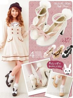 Lovely Girls Lolita Rabbit Ears Bunny Tail Shoes Princess High Heels Cute Shoes | Clothing, Shoes & Accessories, Women's Shoes, Heels | eBay!