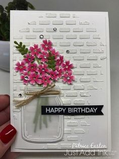 stampin up beautiful bouquet jar of love just add ink spring blossom mus - The world's most private search engine Birthday Cards For Women, Handmade Birthday Cards, Happy Birthday Cards, Greeting Cards Handmade, Beautiful Birthday Cards, Mason Jar Cards, Karten Diy, Embossed Cards, Stamping Up Cards