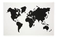 One Kings Lane - Graphic Art - Modern Map, White & Black