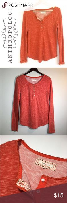Anthropologie Pure + Good Henley ✔️Henley Style Pullover ✔️Embroidered Neckline ✔️Cotton/Poly Blend ✔️No Holes, Stains or Damages Anthropologie Tops