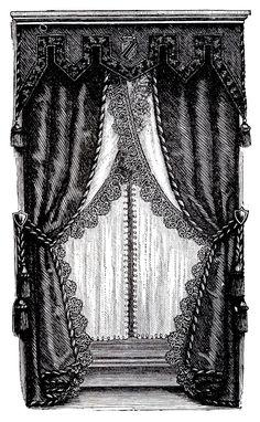 Vintage Curtains | Vintage Clip Art - Fancy Victorian Curtains -Draperies - The Graphics ...